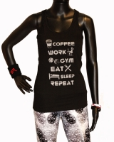 "Women's ""Coffee Work Gym"" Racerback Tank-Black/Gold"