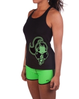 "Women's Extreme Rush ""Fight Chick"" Tank-Black/Lime"