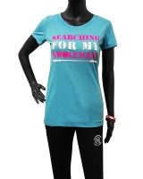 "Women's ""Searching For My Swolemate"" Tee-Aqua"