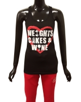 "Women's ""Weights Cakes & Wine"" Racerback Tank"