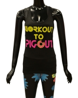 "Women's ""Workout to Pigout"" Racerback Tank-Black"