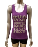 "Women's ""Squat To Get Sexy"" Racerback Tank-Purple"